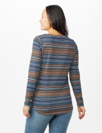 Lace Up V Neck Multi Stripe - Navy - Back