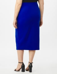 Scuba Crepe Side Slit Skirt With Button Trim Detail - Blue Hawaii - Back