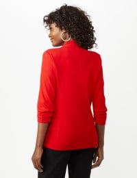 Open Front Collarless Cardigan With Ruched Sleeve - Infared - Back