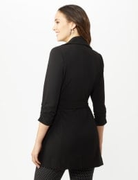 Knotched Collar Wrap Jacket With Tie Belt - Black - Back