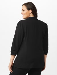 Open Front Collarless Cardigan With Ruched Sleeve - Black - Back