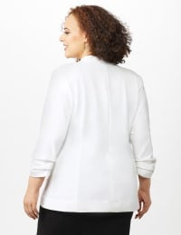 Open Front Collarless Cardigan With Ruched Sleeve - Sugar Swizzle - Back