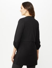 Open Front Cardigan Jacket with Zip Pkts and Roll Sleeve - Black - Back