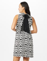 Mock Neck Linking Circles Print Puff ITY Dress - Black - Back