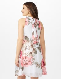 Sleeveless Chiffon Large Flower Mock Neck Dress - Grey/Blush - Back