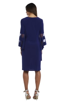 Illusion Bell Sleeve Dress with Rush Detail at Waist - Electric Blue - Back