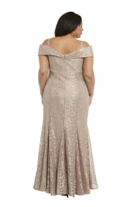 Off the Shoulder Glitter Lace Gown Godet Plts at Hem - Champagne - Back