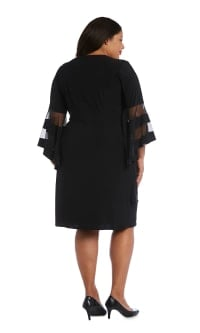 Illusion Bell Sleeve Dress with Rush Detail at Waist - Black - Back