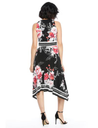 Floral Jersey Sharkbite Dress - Black/Pink - Back