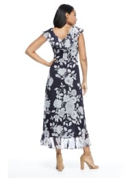 Floral Flutter Sleeve Yoryu Chiffon Wrap Dress - Black/White - Back