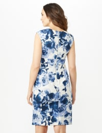 Sleeveless Keyhole Neck with Bar Floral Sheath Scuba Dress - Ivory/China Blue - Back