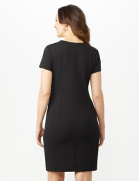Short Sleeve Scuba Dress - Cameo/Ivory/Black - Back