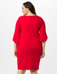 3/4 Flutter Sleeve Wrap Dress - Apple Red - Back