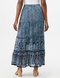 Tiered Maxi Skirt with Waist Tie and Tassel - Navy - Back