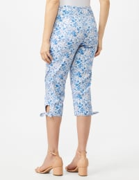 Printed Pull on Pants Tie Hem Capri - Blue Multi - Back