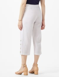 Elastic Waist Crop With Button Detail On Leg - White - Back