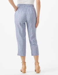 Striped Pull On Drawstring Crop - Stripe Pattern - Blue - Back