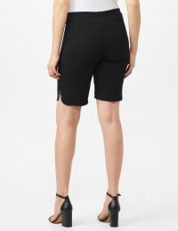 Pull on Shorts with Dome Rivet Trim - Black - Back