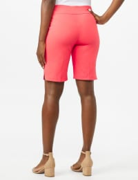 Pull on Shorts with Dome Rivet Trim - Coral - Back