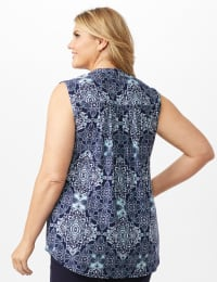 Medallion Pintuck Popover - Navy - Back