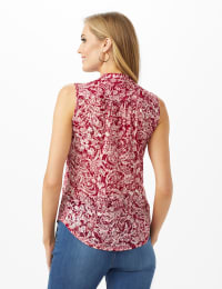Floral Popover Knit Top - Red/White - Back