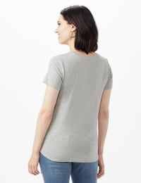 LIPS Tie Front Knit Top - Misses - Heather Grey - Back