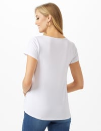 Lips Hi-Lo Knit Screen Tee - White - Back