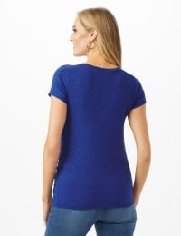 Asymmetrical Side Cinch Knit Top - Petite - Blue - Back