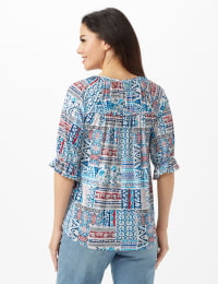 Patchwork Peasant Knit Top - Misses - Blue - Back
