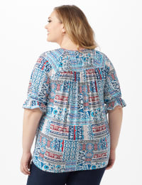 Patchwork Peasant Knit Top - Blue - Back