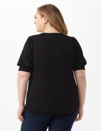 Scoop Puff Sleeve Knit Top - Black - Back