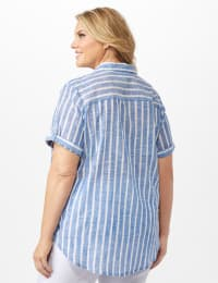 Dressbarn Lurex Stripe 1 Pocket Shirt - Blue - Back