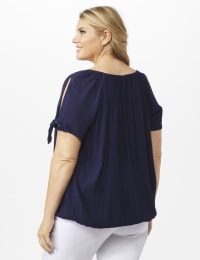 Smocked Peasant Grommet Tie Sleeve Top - Plus - Navy - Back