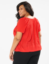 Smocked Peasant Grommet Tie Sleeve Top - Plus - Red - Back