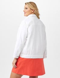 Jeans Jacket With 2 Chest Pockets , Button Front, Side Seams - White - Back