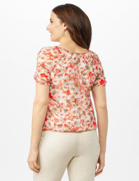 Floral Pleat Neck Bubble Hem Top- Petite - Coral/Tan - Back