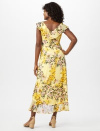 Flutter Sleeve Mock Wrap Floral Print Yoryu Chiffon Dress - Yellow - Back