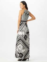 Halter Neck Jersey Medallion Print with Stripes Maxi Dress - White/Black - Back