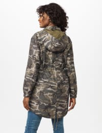 Dry Nylon Camo Zip Front Hooded Utility Jacket with Draw Cord - Olive - Back