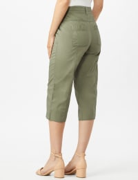 Utility Capri Pants with Drawstring Waist - Dusty Olive - Back
