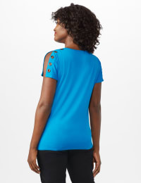 Grommet Trim Split Sleeve - Mosaic Blue - Back
