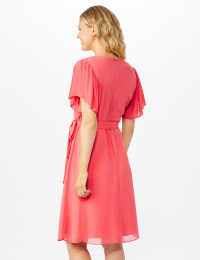 Chiffon Short Pleated Sleeve Dress with Soft Self Fabric Belt - Coral - Back