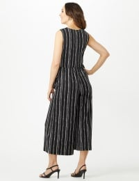 Sleeveless Stripe Mock Wrap Side Tie Crop Jumpsuit - Black - Back