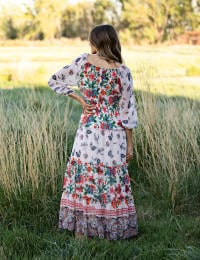 Boarder Print Tiered Maxi Peasant Dress - Nude/Orange - Back