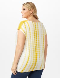 Side Tie Crochet Trim Tie Dye Top - Yolk Yellow - Back
