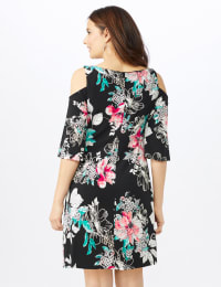 Cold Shoulder Elbow Sleeve Etched Floral Dress - Petite - Black - Back