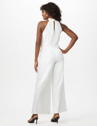 Knot Neck Halter Jumpsuit - Ivory - Back