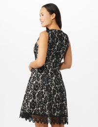 Round Neck Lace Fit and Flare Dress - Black/Nude - Back