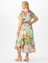 V-neck Chiffon Jacquard Botanical Floral Dress - Ivory/Rose - Back