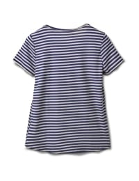 Screen Print Stripe Rib Tee - Navy - Back